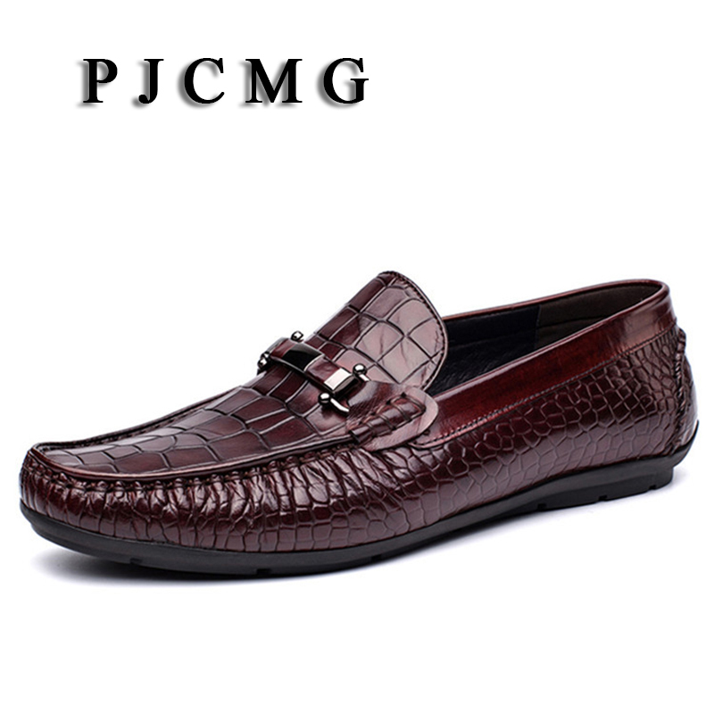 PJCMG Fashion Flats Men Black/Red Formal Casual  Slip-On Embossed Leather Men Flats Oxfords Loafers Casual Man Moccasin Shoes dxkzmcm new men flats cow genuine leather slip on casual shoes men loafers moccasins sapatos men oxfords