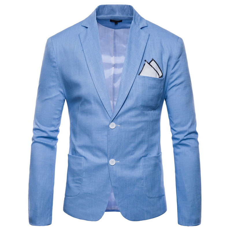2019 New Design Men's Solid Color Two Buckle Casual Cotton And Linen Suit Blazer Male Suit Jacket Thin Coat For Autumn K925