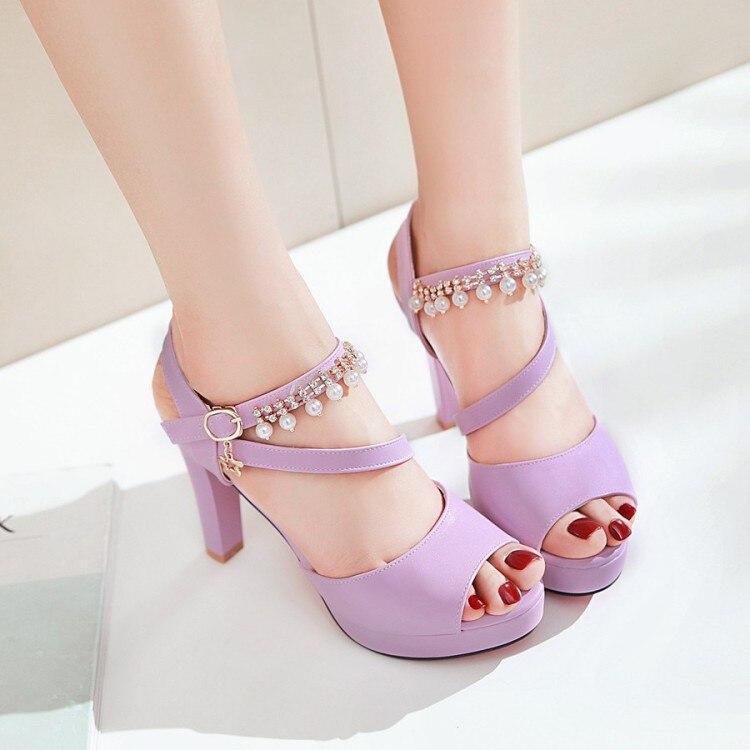 Grande taille 9 10 11 12 dames plate-forme d'été sandales femmes chaussures femme poisson bec eau perceuse perle imperméable table