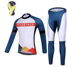 QKI POKER FACE Winter Cycling clothing Thermal fleece Long Sleeves Cycling Jersey and Cycling Long Pants a Set Maillot+Culote