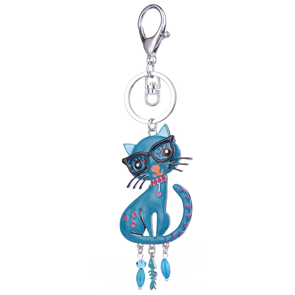 Enamel Alloy Cat Key Chain Woman Key Ring Girl Bag Charm Keychain Pendant Jewelry Keychains for Women Car HandBag Accessories in Key Chains from Jewelry Accessories