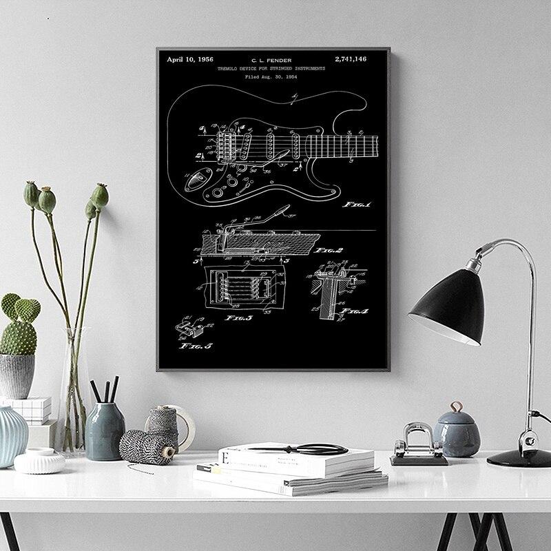 Fender Stratocaster тремоло стены Книги по искусству Краски Настенный декор отпечатки на холсте холст Книги по искусству плакат масляной Картины No ...