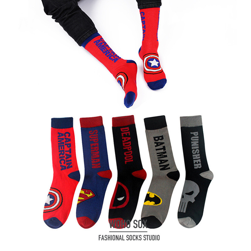 Fashion Cotton Colorful Socks Happy Cartoon Superhero Socks Letters Avengers Batman Marvel Comics Miracle Unisex Socks