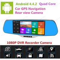 7 1080P Android Smart System Built in GPS Navigation WIFI Car Rearview Mirror Dual Lens Car DVR Camera Recorder with Free Map