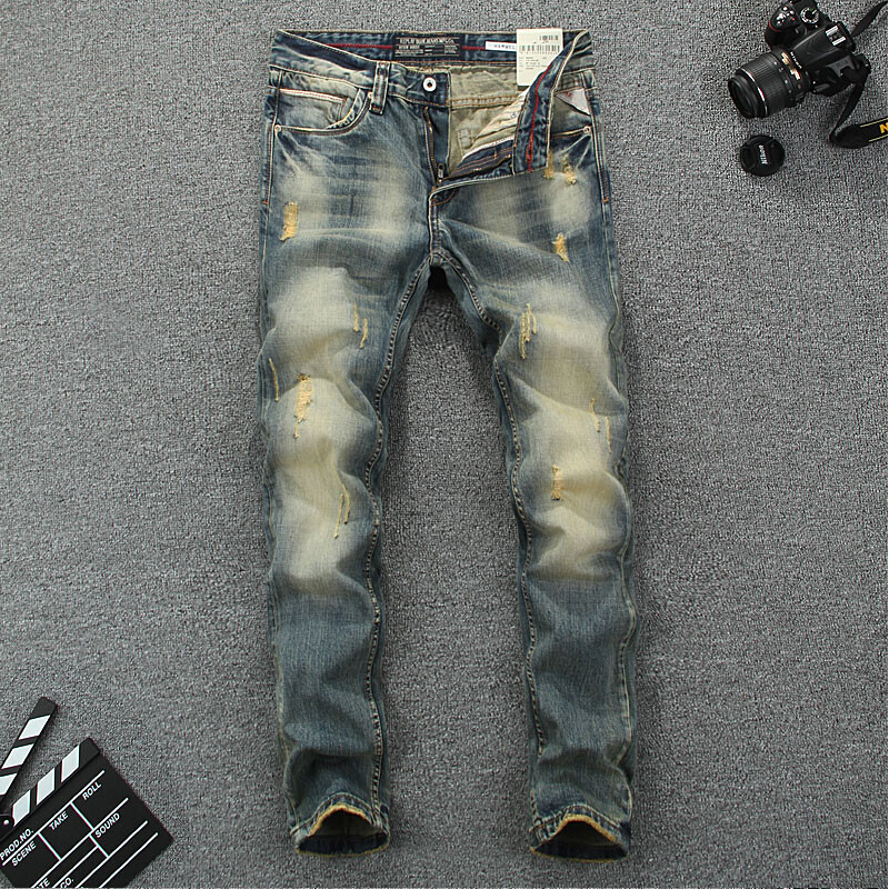 Itali Vintage Designer Lelaki Jeans High Quality Cotton Slim Fit Jeans Ripped Jeans Homme Brand Jeans Men Jeans Simple Classical
