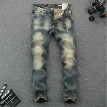 купить 2015 New arrival mens jeans famous brand printed jeans mens 100% cotton high quality pants ripped jeans for men 621 по цене 2125.23 рублей