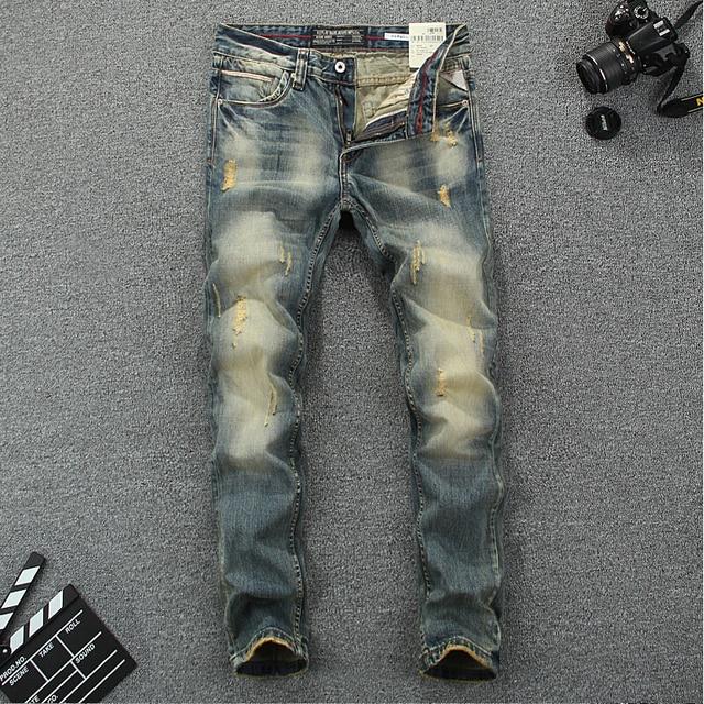 Italian Vintage Designer Men Jeans High Quality Cotton Slim Fit Ripped Jeans Homme Pants Brand Jeans Men Classical Simple Jeans