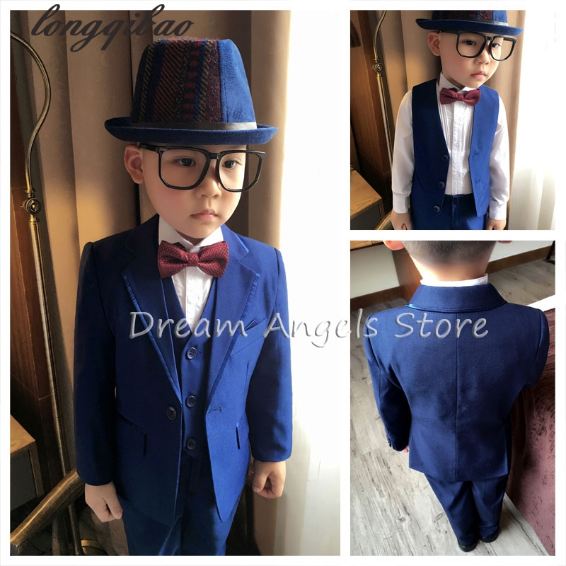 (Jackets+Vest+Pant+Shirts+Cravat) Boy Suits Flower girl Slim Fit Tuxedo Brand Fashion Bridegroon Dress Wedding blue Suits Blazer
