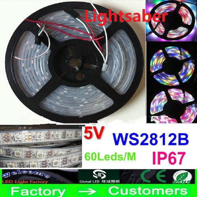 5M 5V 60Led/M 300LEDs programmable WS2812B RGB 5050 LED strip Digital Individually addressable magic dream color Waterproof IP67