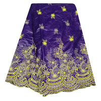 Free Shipping Purple Color George Fabric Indian George Wrappers African Raw Silk George Lace Fabric SGK1