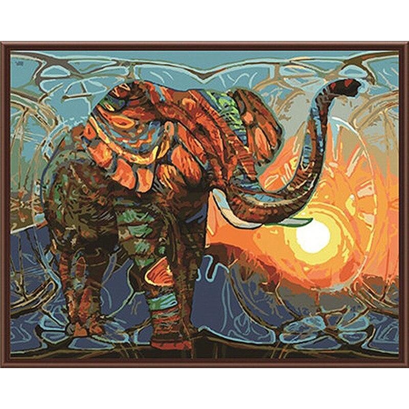 Frameless pintura vintage elefante pintura de DIY por los kits de los números pintura de acrílico en la lona ilustraciones 40x50 cm