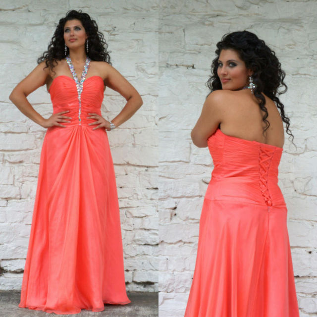 Halter Top Pleat Back Lace Up Coral Color Chiffon Big Bust Evening ...