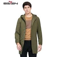 Seven7 куртка мужская куртки мужские плащ мужской пальто мужское брендовые длинные В армейском стиле зеленый цвет черный Тренч Для мужчин вет...