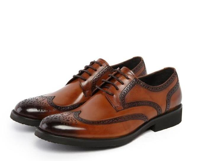 Men's Dress Oxfords Men's brogues brown Carved Genuine Leather Cowhide Black Dress shoes Business shoes Lace Party dress Slip-On