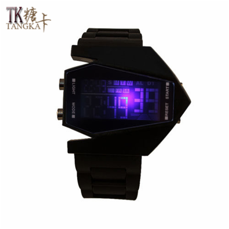 New Fashion Black Casual Unisex Watch Airplane Model Creative Rubber Watch LED Watch Digital Display Strap