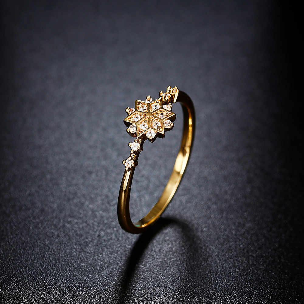 สไตล์เครื่องประดับ Elegant ผู้หญิงแหวนผู้ชายแหวนเกล็ดหิมะของขวัญหมั้นชุดแหวนหิน Dropship South Korea