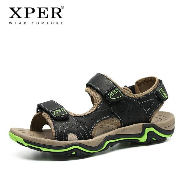 2019 новый бренд Модные сандалии из натуральной кожи Для мужчин пляжная обувь для отдыха летняя обувь мужские шлепанцы Zapatos de hombre # XP003
