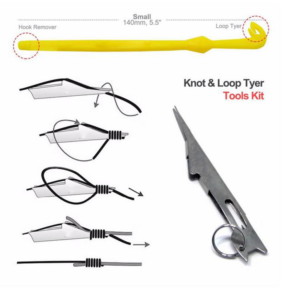 2 Pcs/Set Hook Loop Tool Tie Fast Knot Tying Tool For Fly Fishing Hook Tools Line Tier Kit Plastic + Stainless Steel