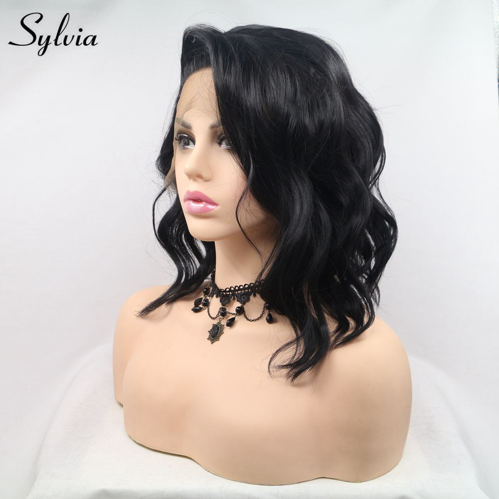 Sylvia Short Black Curly Wigs For Women Synthetic Lace Front Wig Side Part 1b Hair Natural