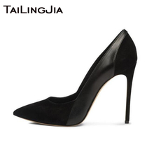 цены Women Pumps High Heels Party Dress Shoes Faux Suede Mixed Soft PU Leather Brand Woman Ladies Blue Pointed Toe Fashion Stilettos 2019