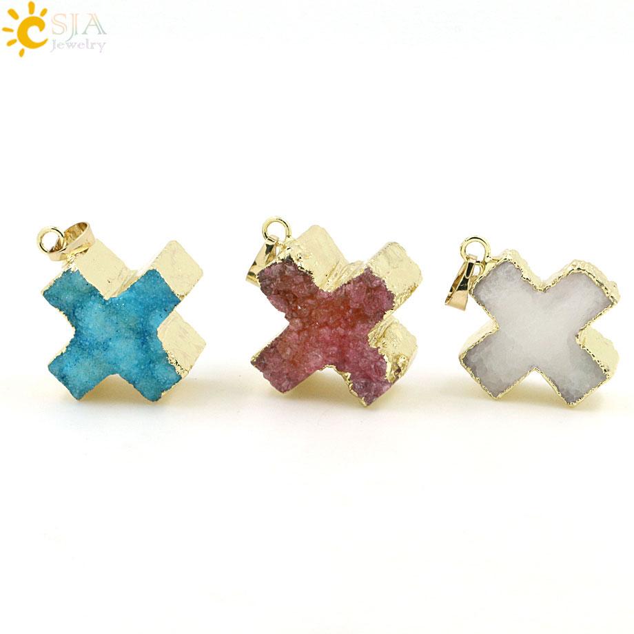 CSJA Cross Nature Druzy Stones Pendant Healing Crystals ...