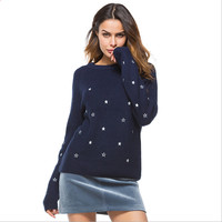 Women pullover sweaters round neck causal elegant sweater blue white with cute stars embroidery winter sweaters for ladies