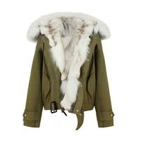 Winter Jacket Coat Women Parka 2018 Real Fur Coat Women Parka Large Real Fox Fur Collar Natural Fox Fur Liner Motorcycle Jacket