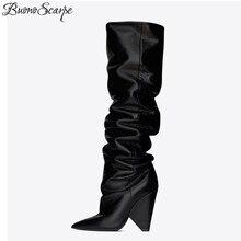 BuonoScarpe Slip On Knee High Boots 2019 Cone Heels Pleated Fashion Women Boots High Heels Ladies Brand Design Shoes Knight Shoe