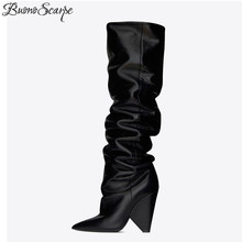 Design Shoes Boots Cone-Heels Fashion Women Knight Ladies Pleated No Slip Buonoscarpe