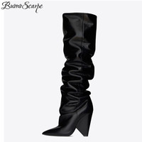 BuonoScarpe Slip On Knee High Boots 2019 Cone Heels Pleated Fashion Women Boots High Heels Ladies Brand Design Shoes Knight Shoe