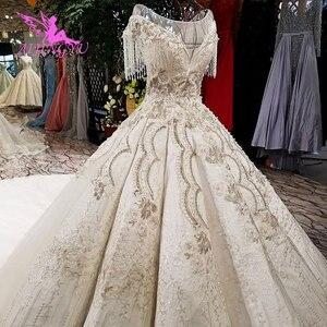 Image 3 - AIJINGYU 빈티지 Boho 웨딩 드레스 레이스 가운 정원 Frocks 2021 2020 독특한 복고풍 가운 공 웨딩 드레스 온라인 상점