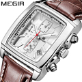 MEGIR Official Chronograph Watch Men Luxury Brand Quartz Military Dress Watch Genuine Leather Men's Wristwatch relogio masculino