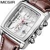 MEGIR Original Watch Men Top Brand Luxury Quartz Military Watches Genuine Leather Dress Wristwatch Mens Clock