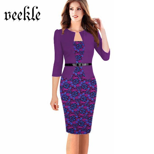 VEEKLE Women Office Dress Plus Size Faux Jacket One-Piece Bodycon Vestidos Patchwork Elegant Summer Wear To Work Dresses 6XL 7XL