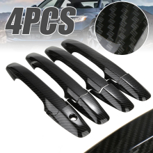 For Honda 1set Carbon Fiber Style Door Handle Cover Trim ABS Plastic Support Civic 2006-2011