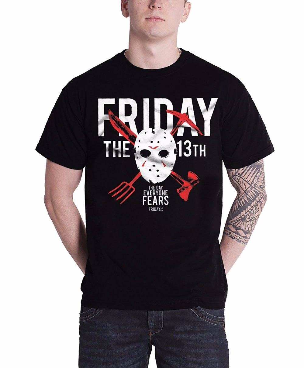 Graphic Tops Premium Men Friday The 13Th The Day Everyone Fears Hyper Black Printed Mens T-Shirt O-Neck Short-Sleeve Tee Shirts