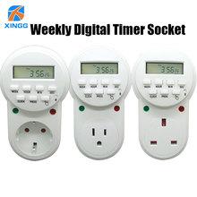 Electronic Digital Timer Switch US EU UK Plug Kitchen Outlet 7 Day Programmable Timing Socket