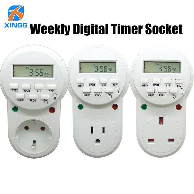 Elettronico Timer Digitale Interruttore Eu Uk Us Spina Presa da Cucina 7 Giorni Programmabile Timing Presa