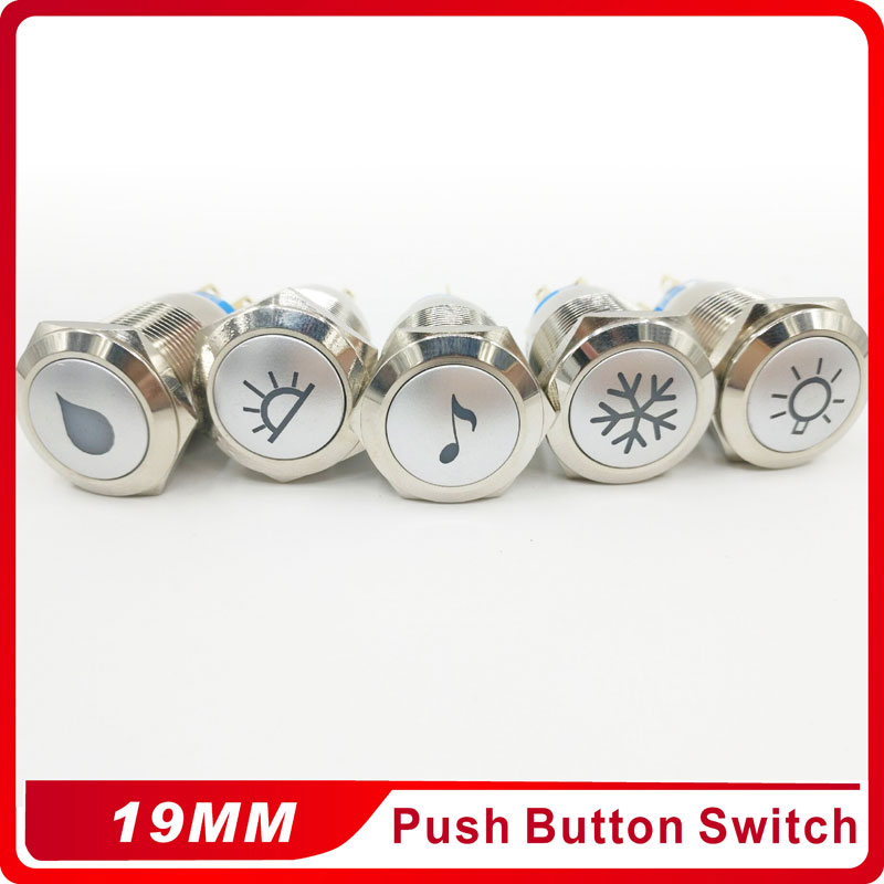 19mm Latching Push Button Switch Car Auto LED laser Music Air conditioning refrigeration in Switches from Lights Lighting