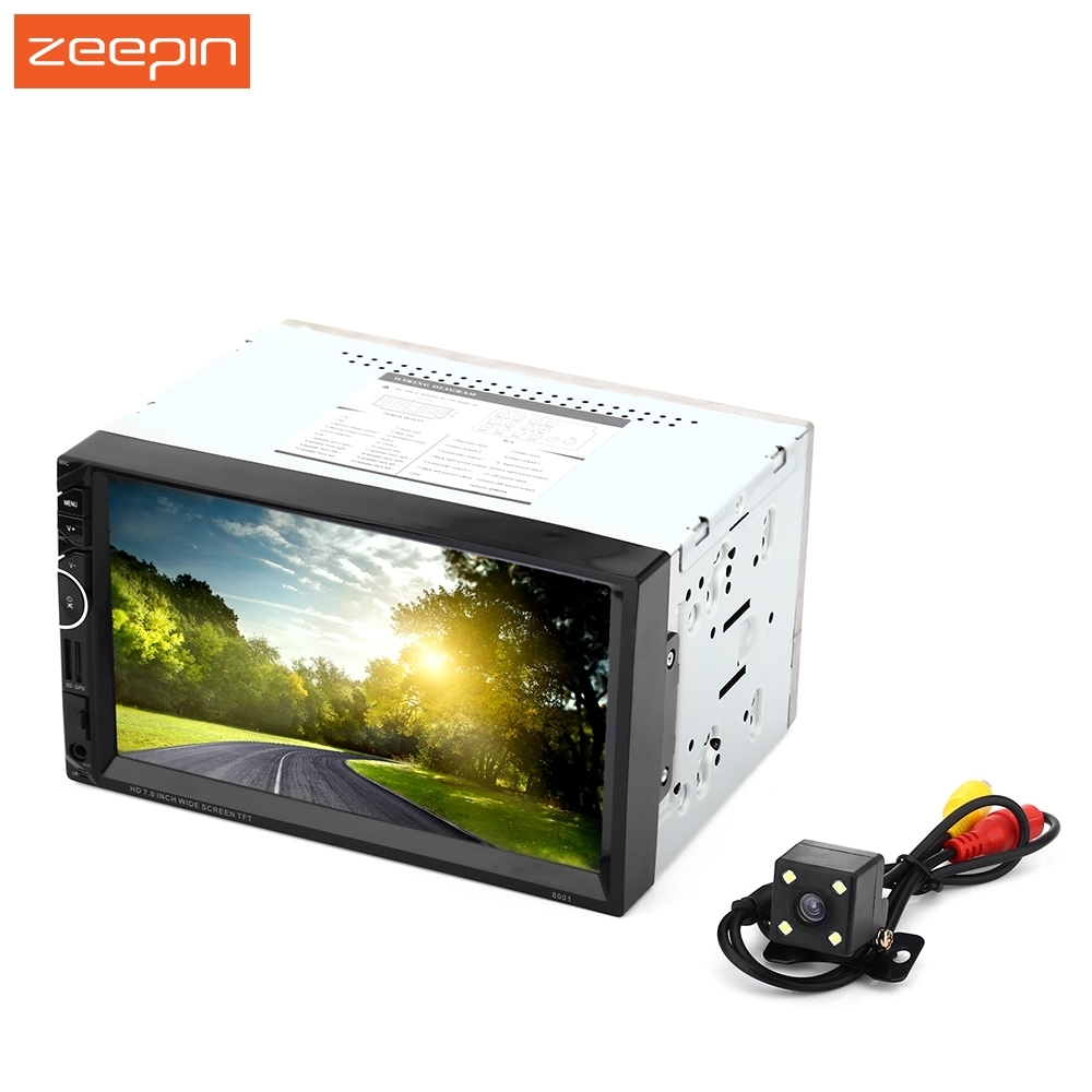 Zeepin Universal 8001 12V Car Video Player Auto Audio Stereo 7'' 2Din Car DVD Player USB FM Bluetooth Rear View Camera Available 7 inch 2 din bluetooth auto car stereo mp5 player fm dvr steering wheel control connected with gps reverse rear view camera
