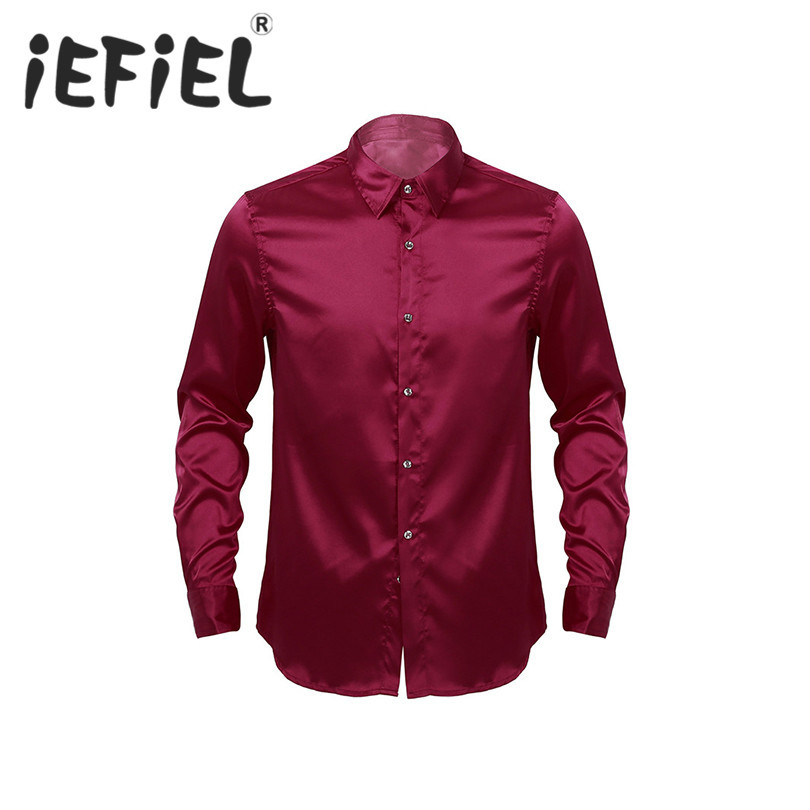 iEFiEL Fashion Mens Male Long Sleeve Turn-down Collar Solid Color Button-Down Soft Casual Business Formal Occasion Party Shirts