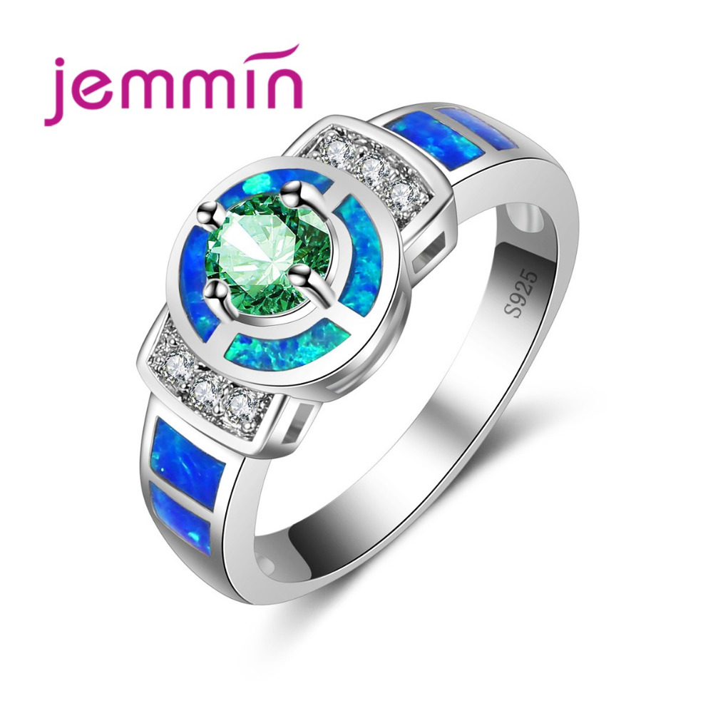 Jemmin Shining Blue Fire Opal Ring 925 Sterling Silver CZ Crystal Roung Finger Rings for Women Fashion Jewelry Opal RingJemmin Shining Blue Fire Opal Ring 925 Sterling Silver CZ Crystal Roung Finger Rings for Women Fashion Jewelry Opal Ring