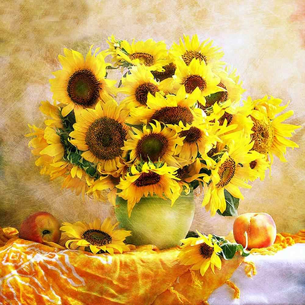 5D DIY Diamond Embroidery Cross Stitch Kits Round Diamond Painting Mosaic Sunflower Pattern Picture Home Decor
