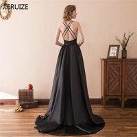 JIERUIZE Black Criss Cross Backless Evening Dresses Long 2018 V neck Elegant long Dresses Cheap Formal Dresses robe longue