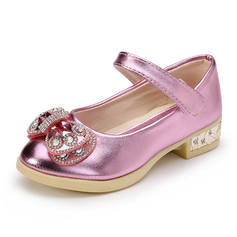 Spring new girls Party high – heeled wedding Leather shoes diamond princess bow dance shoes Pink gold size 26-36 for big girls