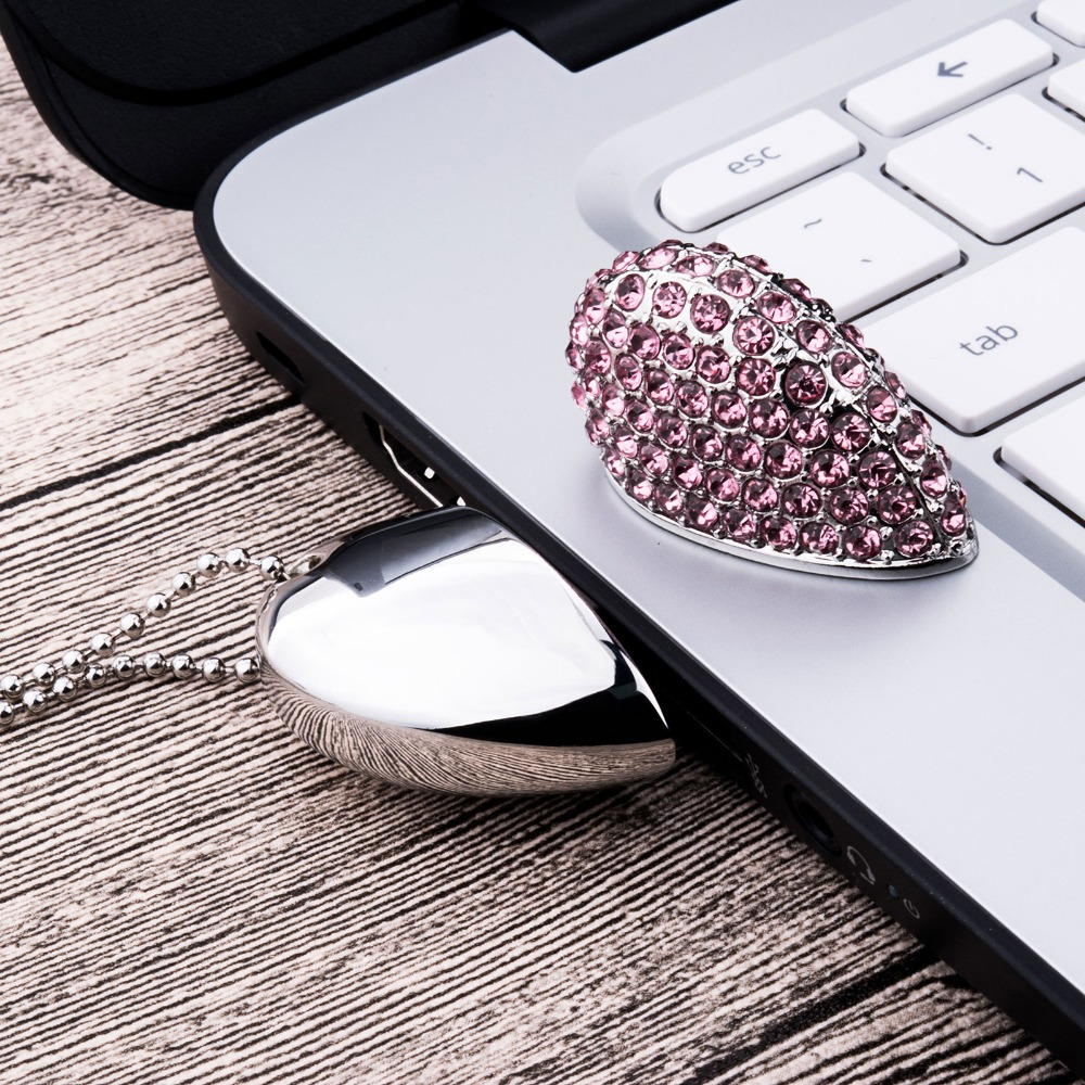 J boxing USB Flash Drive 16GB Crystal Heart Design Thumb Drives 4GB 8GB USB 2 0 Memory Stick 32GB for Computer Laptop 5PCS Lot in USB Flash Drives from Computer Office