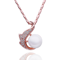 Smart Sea Animal Sea Lion Design Plating Rose Gold Pave Big Pearl Pendant Necklace