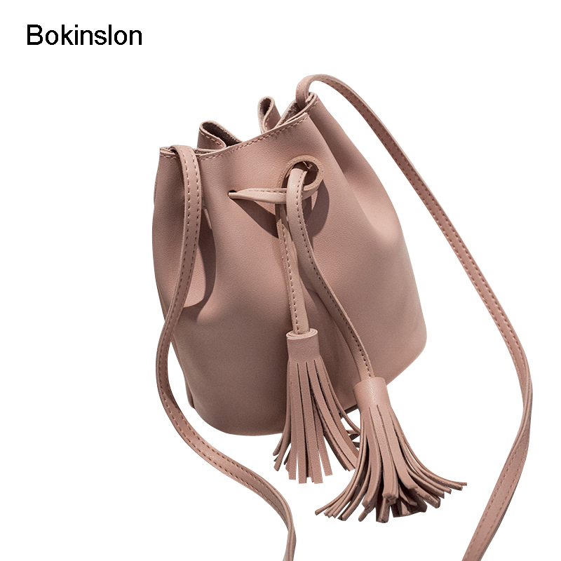 Bokinslon Tassel Shoulder Bags Girls PU Leather Retro Woman Crossbody Bags Solid Color Fashion Drawstring Female Bags