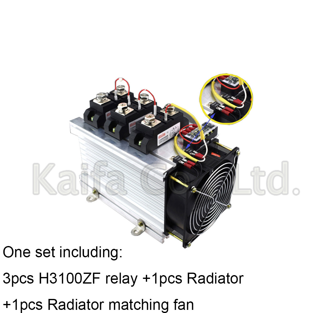 H3100ZF-3 three phase DC to AC 100A 4-32VDC industrial grade solid state relay set/SSR set Not incluidng tax ac 440v 60a three 3 phase four 4 wire 3p 4w ceramic industrial socket plug set