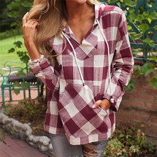53de8ee1dbfe Spring Autumn Women Cotton Blouse Long Sleeve Plaid Pockets Shirt Hoodie V  neck Casual Fit Blouse